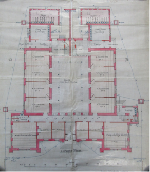 1895 ground floor plan for Inverness Royal Academy by Ross and Macbeth.