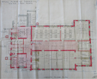 1912 proposed plan for Science and Art Department extension by R. J. Macbeth.