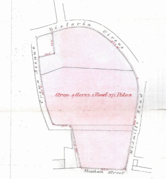 Land acquired from Crown House estate for the new Inverness Royal Academy following construction of Victoria Circus and Crown Avenue on former Crown House lands