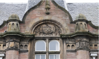 Above main entrance with Inverness Royal Academy Crest designed in 1892 to celebrate the centenary of the school.